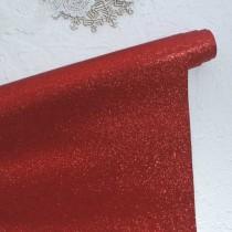 Отрез кожзама с глиттером 50х34 см., красный