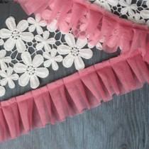Лента рюш-сетка темно-розовый ширина 5 см., 0,5 метра