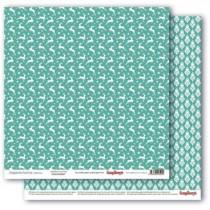 Бумага для скрапбукинга 30,5х30,5 см 190 гр/м, двусторон Зимние контрасты Звездная ночь. Морозная мята, 1 лист