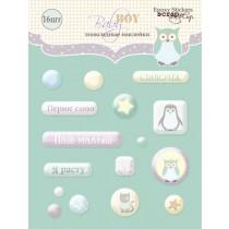 Набор эпоксидных наклеек 16шт от Scrapmir Baby Boy  SM1700015