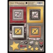 Рамки из чипборда с фольгированием (золото) для скрапбукинга 30шт Charming (очарование) от Scrapmir