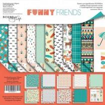 Набор двусторонней бумаги 30х30см от Scrapmir Funny Friends 10л, пл. 190г/м