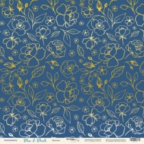 Лист односторонней бумаги с золотым тиснением 30x30 от Scrapmir Цветики из коллекции Blue & Blush, пл.190 г/м
