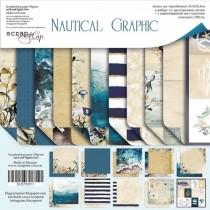 Набор двусторонней бумаги 30х30см от Scrapmir Nautical Graphic 11 л.