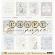 """Односторонняя бумага Карточки коллекция """"Зимний ангел"""", размер 30.5х30.5 см, пл. 190 гр\м2."""