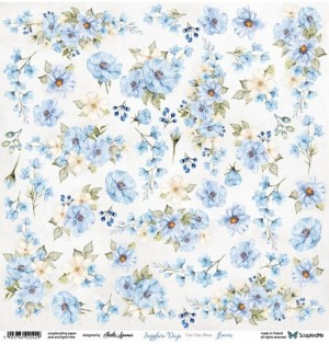 "Лист для вырезания Flowers  ""Sapphire Days""30,5х30,5 см., пл.250 гр"
