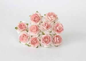 Кудрявые розы 2 см - Белый+св.персиковая середина, 1 шт
