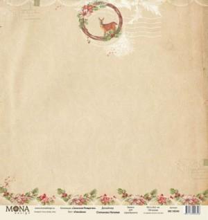 "Лист Оленёнок, односторонняя, из коллекции ""Сказочное Рождество"", размер 30.5х30.5 см, 190 гр\м2."