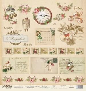 "Лист Открытки, односторонняя, из коллекции ""Сказочное Рождество"", размер 30.5х30.5 см, 190 гр\м2."