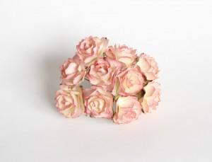 Кудрявые розы 2 см - Желтый+розовый 1 шт
