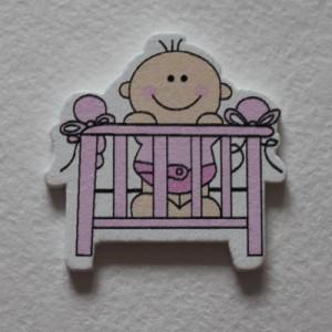 """Декоративное украшение """"Малышка в кроватке"""",1 шт, цвет розовый"""
