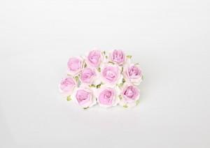 Кудрявые розы 2 см - Белый+св.сиреневый в середине 1 шт