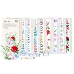 """1/3 Набора для вырезания """"Flowers 01"""" 8 листов, размер 15,24x30,5см, пл.250 г/м2"""