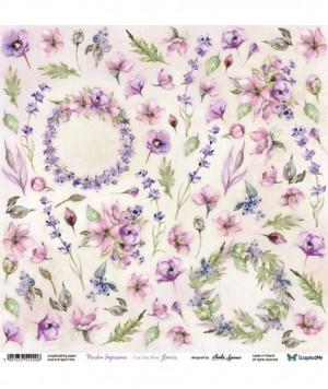 "Лист для вырезания ""Meadow Impressions"" Flowers 30,5х30,5 см., пл.250 гр."