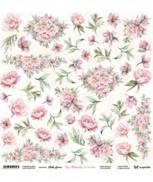 "Лист для вырезания ""Nice Moments"" Flowers 30,5х30,5 см., пл.250 гр."