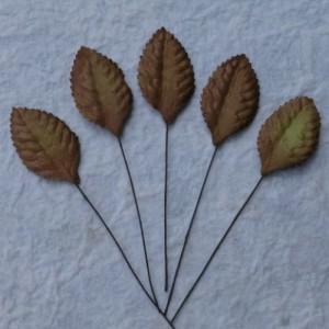 Листики - Brown Mulberry Paper Leaves - 35mm 1шт