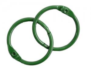 Кольца для альбомов, 2 шт зеленые 50 мм